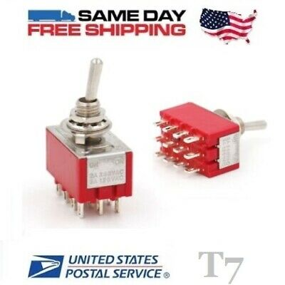 2x MINI 4PDT ~ Quad 4 Pole Double Throw 12-Pin  (ON-ON) 5amp Toggle Switches
