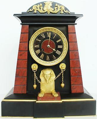 Very Rare Antique French Huge Black & Red Marble Egyptianesque 8Day Mantle Clock