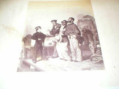 Negro Boy with Sailors at Port - Antique engraving early 19th century. Slavery?