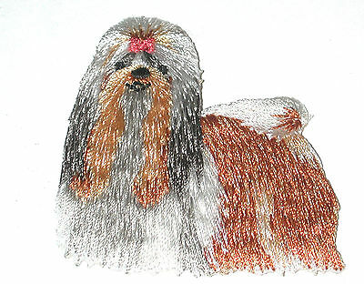 Lhasa Apso Vintage IRON-ON EMBROIDERED DOG PATCH