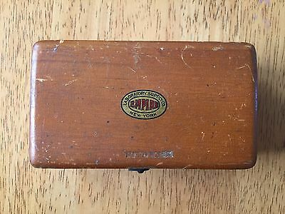 Vintage Brass Scale Weights Wooden Box Holder Empire Laboratory Supply Co. NY