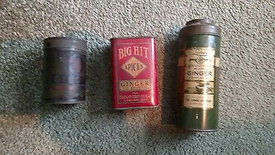 vintage antique ginger spice tin big hit lange company