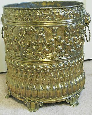 Husson Antique Ornate Brass Coal Hod Scuttle - Planter - Umbrella Stand
