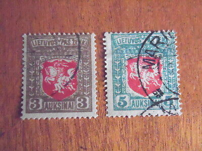 Lithuania ~ Sc#59 & 60  ~ Used (1919) ~ Lot 9