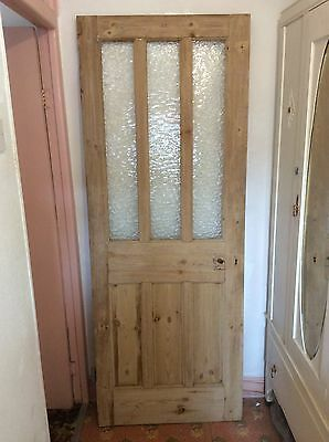 Victorian Pitch Pine And Glass Panelled Door