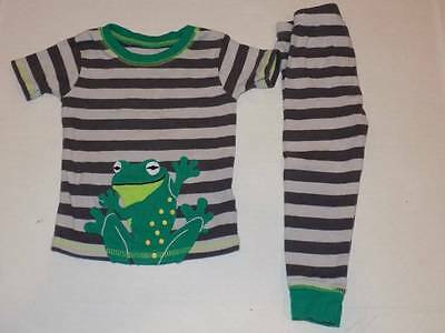 carters boys pajamas size 12 months pants s/s shirt green frog stripes