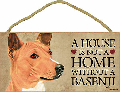 A house is not a home without a Basenji Wood Puppy Dog Sign Plaque USA Made