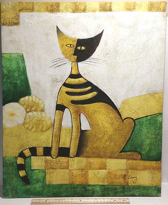"""ORIGINAL ABSTRACT ART OIL PAINTING OF A CAT ON CANVAS SIGNED B. LONG 24"""" x 20"""
