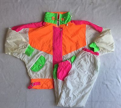 East West Track Suit 90s Windbreaker Jacket Pants Neon Retro Women Small- Flaw