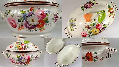 Antique Hand Painted Flower Lidded White Porcelain Soup Gravy Tureen Bowl Pear
