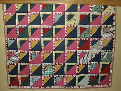 Antique Colorful Flying Geese Quilt
