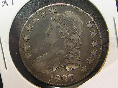1827 Capped Bust Half Dollar VF details - cleaned