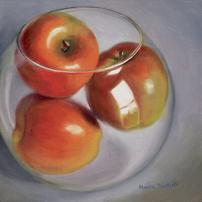 DANFORTH SALE Apples In Glass Bowl 6x6 still life realism oil painting