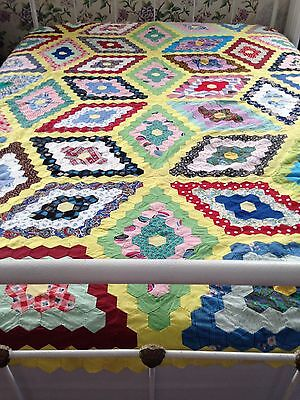 Lovely Colorful Vintage Pieced Quilt Top
