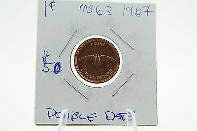 """Canada 1 Cent Penny Collection - 1967 Centennial """"Dove"""" With Double Date - ERROR"""