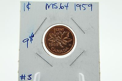 Canada 1 Cent Penny Collection - 1959 Mint State Near Gem Rare
