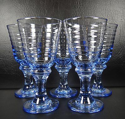 Libbey Rock Sharpe Sirrus Blue Set of 5 Goblets