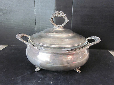 Vtg MRR English Silver Silverplate 3- Piece Casserole Serving Bowl Pyrex Insert