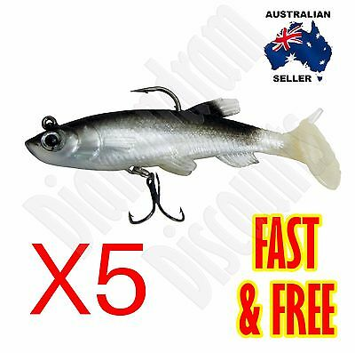 "3"" Poddy Mullet Paddle Tail Soft Plastic Fishing Lure Bass Barra Jew Bream Jack"