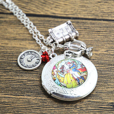 Beauty and the Beast Stained Glass Locket Necklace clock rose Princess Belle.