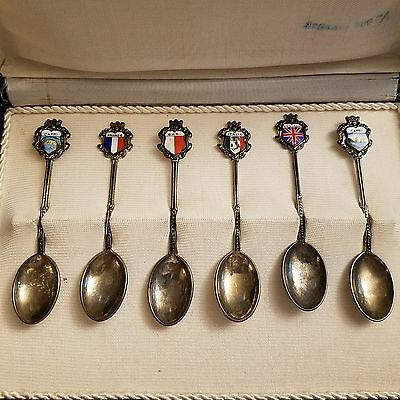 Antique Demitasse Souvenir Spoons in case - Sterling?
