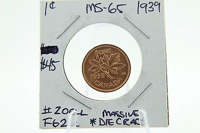 Canada 1 Cent Penny Collection - 1939 Mint State GEM Error Coin - Die Cracks