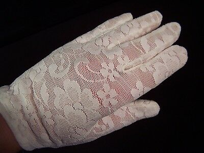 Vintage Ladies Stretch Lace Gloves Ivory Nylon Spandex by Finale~Phillipines