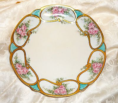 Rose Bouquets Blue Shells Antique Cabinet Molded Plate Hand Painted Gold SIGNED