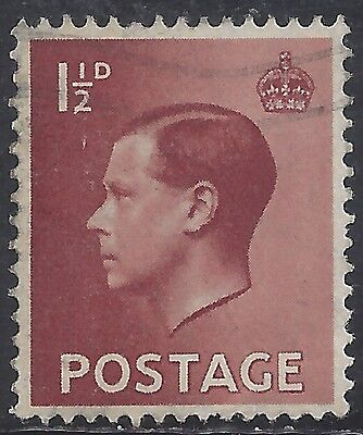 "Great Britain Stamp - Scott #232/A99 1 1/2p Red Brown ""Edward VIII"" Canc/LH 1936"