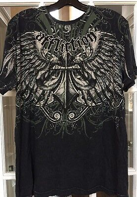 Affliction Men's Live Fast Graphic Tee Shirt Short sleeve L cotton Cross Wings