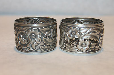 2 Antique S Kirk Son Sterling Napkin Ring Rings Repousse Floral Pattern Monogram