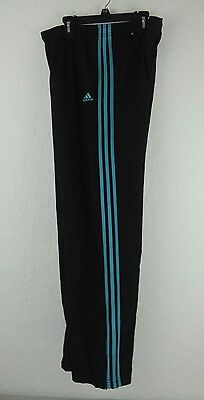 Adidas 3 Stripe Workout Training Pants Women's Size MEDIUM BLACK /TEAL