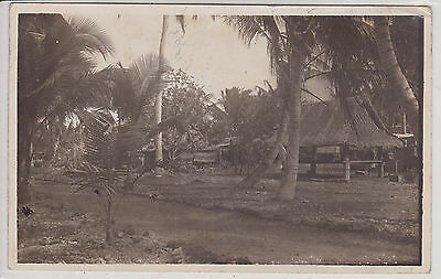 Guam Island. A View Of Native Hub. Vintage Real Photo Postcard Rppc
