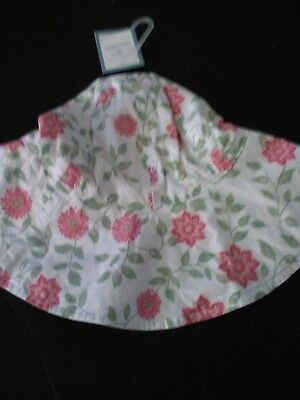 Baby Gap, Girl's Ivory Pink Flower Hat, Size 0-6 Months NEW