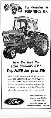 1968 Dealer Print Ad of Ford 8000 105HP Farm Tractor w vintage 8N 22 HP