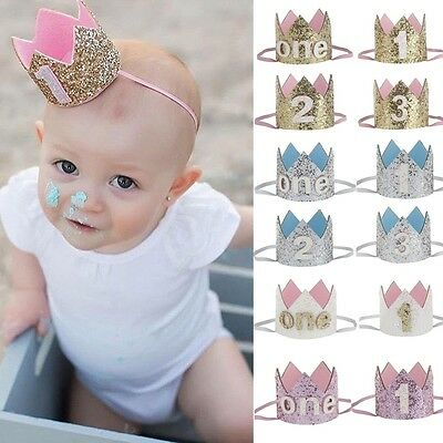 Birthday Age Kids Gifts Fake Hat Shiny Headband Baby Letter Headwear Hair Band