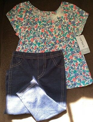 Carter's Infant Baby Girls 2Pc Set Shirt/Top and Jeggings Pants 12 M Months