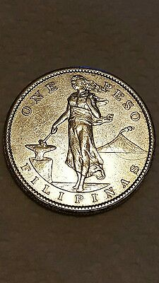 Philippines Peso, 1907 silver US administration nicer coin #2