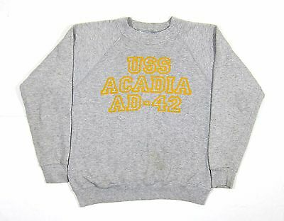 VTG Naval USS Acadia Heather Grey Sweatshirt Military Champion L Navy USAF