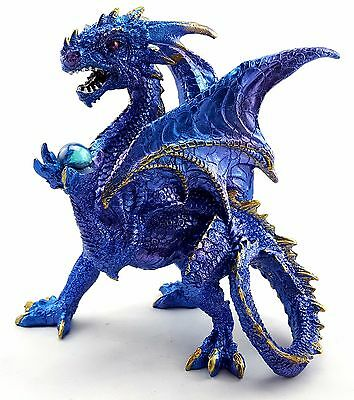 Dragon Holding Ball Blue Statue Figurine Ornament Sculpture Home Garden *18 cm*