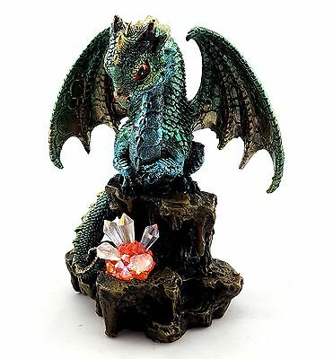Dragon Light Up Crystals Statue Figurine Ornament Sculpture Green Garden 16 cm