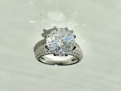 Simulated ROUND DIAMOND Engagement Ring 925 REAL Sterling SILVER sz JKLMNOPR 4ct