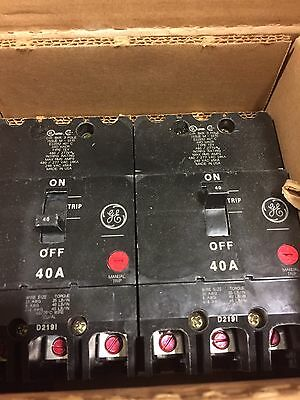 Lot Qty 2 Ge General Electric Tey340 New Circuit Breaker 3 Pole  40 Amp