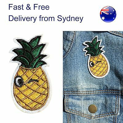 Winking Pineapple Iron on patch - fruit embroidery iron-on heat transfer patches