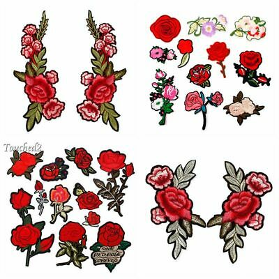 Rose Flower Applique Badge Embroidered Sew On Clothes Floral Collar Patch Craft