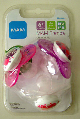 Mam Trends Silicone Bpa Free Orthodontic Pacifiers 3 Count Girl Pink Purple New