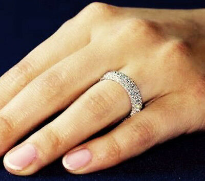 1ct Created Diamond Pave STACKABLE Wedding Ring Band 925 Sterling Silver Mothers