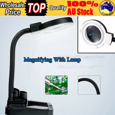 Magnifying Tools Crafts Glass Table Lamp With 5X&10X Magnifier w/40 LED Lighting