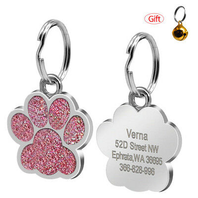 Personalized Engraved Glitter Paw Print Tags Dog Cat ID Tags ENGRAVED for FREE