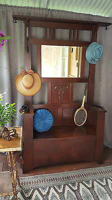Silky Oak Arts and Crafts Hall Stand with Blanket Box / Hat Stand / Hallstand